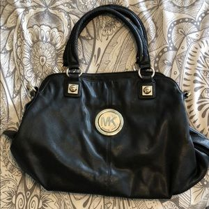 Michael Kors black purse with silver hardware